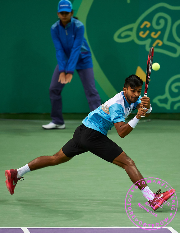 Ashgabat, Turkmenistan - 2017 September 27:<br /> Indoor Tennis competition during 2017 Ashgabat 5th Asian Indoor & Martial Arts Games at Indoor Tennis Arena (ITC) at Ashgabat Olympic Complex on September 27, 2017 in Ashgabat, Turkmenistan.<br /> <br /> Photo by © Adam Nurkiewicz / Laurel Photo Services