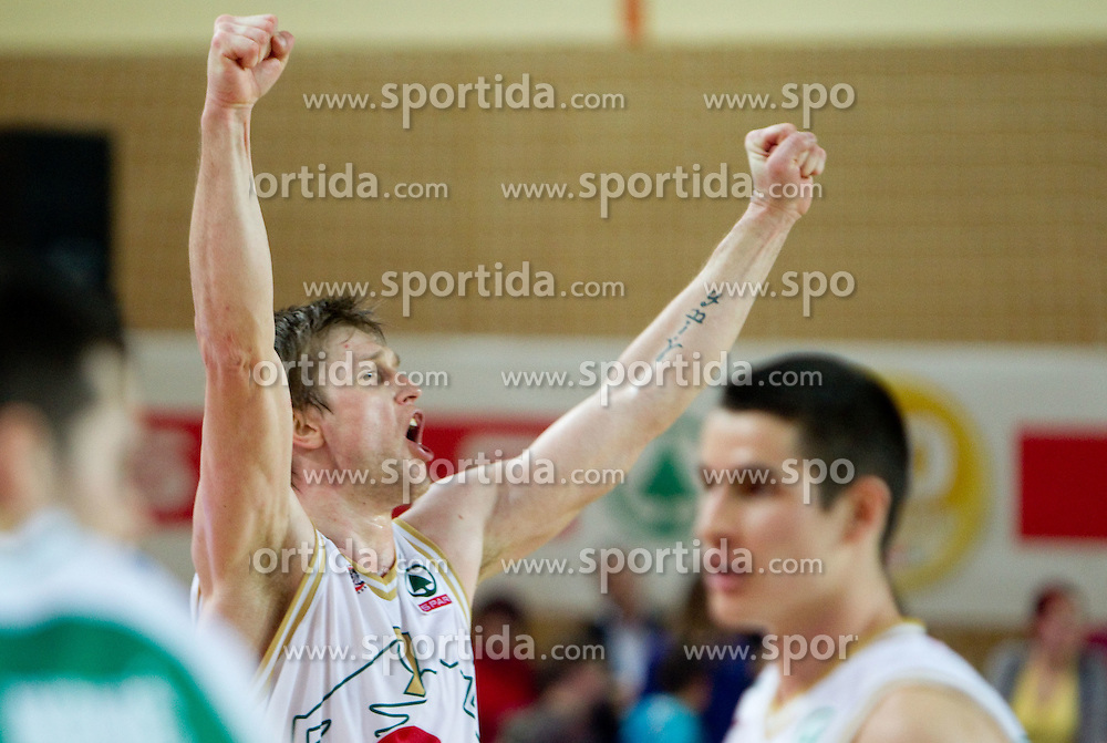 Vladimer Boisa of Olimpija celebrates after the basketball match between KK Union Olimpija and KK Krka in 3rd Quarterfinal of Spar Slovenian Cup, on February 11, 2011 in Sportna dvorana Poden, Skofja Loka, Slovenia. Union Olimpija defeated Krka 122-113 after 3-overtimes. (Photo By Vid Ponikvar / Sportida.com)