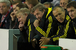 LIVERPOOL, ENGLAND - Thursday, September 16, 2010: Liverpool's manager Roy Hodgson and Sammy Lee see their side take on FC Steaua Bucuresti during the opening UEFA Europa League Group K match at Anfield. (Photo by David Rawcliffe/Propaganda)