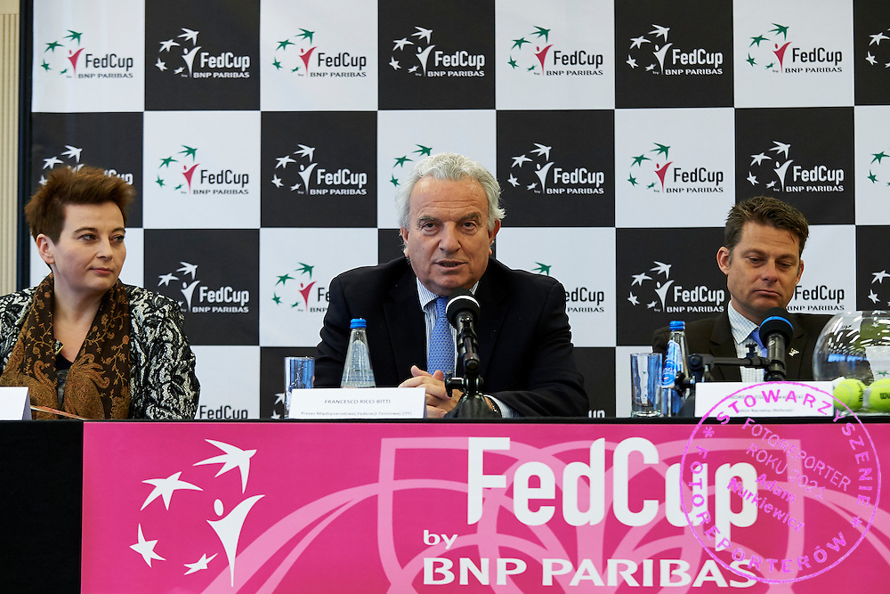 (L) Magdalena Sroka - Vicepresident of City Cracow and (C) President of the International Tennis Federation Francesco Ricci Bitti from Italy and (R) Swiss ITF umpire Andreas Egli during official draw one day before the Fed Cup / World Group 1st round tennis match between Poland and Russia at Holiday Inn on February 6, 2015 in Cracow, Poland.<br /> <br /> Poland, Cracow, February 6, 2015<br /> <br /> Picture also available in RAW (NEF) or TIFF format on special request.<br /> <br /> For editorial use only. Any commercial or promotional use requires permission.<br /> <br /> Adam Nurkiewicz declares that he has no rights to the image of people at the photographs of his authorship.<br /> <br /> Mandatory credit:<br /> Photo by &copy; Adam Nurkiewicz / Mediasport