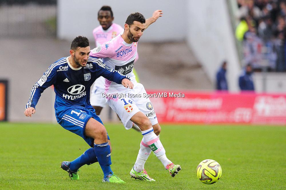 Jordan FERRI / Cedric BARBOSA - 07.12.2014 - Evian Thonon / Lyon - 17eme journee de Ligue 1 -<br />Photo : Jean Paul Thomas / Icon Sport