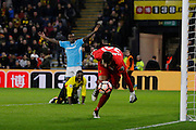 Watford goalkeeper Costel Pantilimon (30) chases down a loose ball from Burton Albion midfielder Lloyd Dyer's (11) shot during the The FA Cup 3rd round match between Watford and Burton Albion at Vicarage Road, Watford, England on 7 January 2017. Photo by Richard Holmes.
