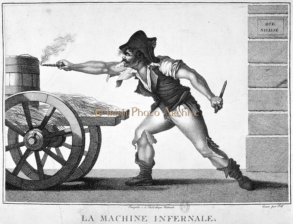 French Revolution of 1789.  Revolutionary lighting the fuse of a bomb. Engraving.