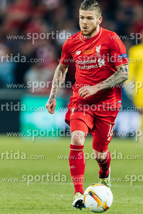 18.05.2016, St. Jakob Park, Basel, SUI, UEFA EL, FC Liverpool vs Sevilla FC, Finale, im Bild Alberto Moreno (FC Liverpool) // Alberto Moreno (FC Liverpool) during the Final Match of the UEFA Europaleague between FC Liverpool and Sevilla FC at the St. Jakob Park in Basel, Switzerland on 2016/05/18. EXPA Pictures © 2016, PhotoCredit: EXPA/ JFK