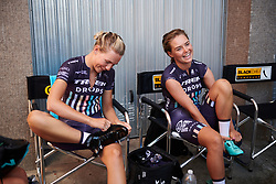 Anna Christian (GBR) and Abby-Mae Parkinson (GBR) get ready for Giro Rosa 2018 - Stage 1, a 15.5 km team time trial in Verbania, Italy on July 6, 2018. Photo by Sean Robinson/velofocus.com