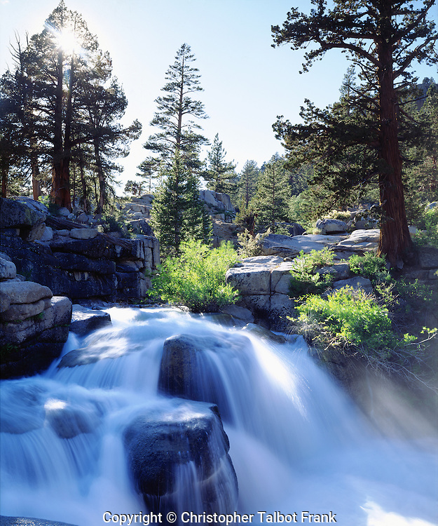 USA; California; Sierra Nevada Mountains.  A waterfall in the High Sierra