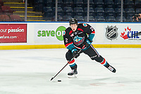 KELOWNA, CANADA - DECEMBER 5: Lassi Thomson #2 of the Kelowna Rockets skates with the puck against the Tri-City Americans on December 5, 2018 at Prospera Place in Kelowna, British Columbia, Canada.  (Photo by Marissa Baecker/Shoot the Breeze)