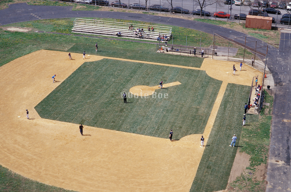 overhead view of baseball field with players