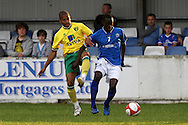 Junior Luke of Billericay and Simeon Jackson of Norwich in action during a pre season friendly at New Lodge Stadium, Billericay...Picture by Paul Chesterton/Focus Images Ltd.  07904 640267.4/8/11