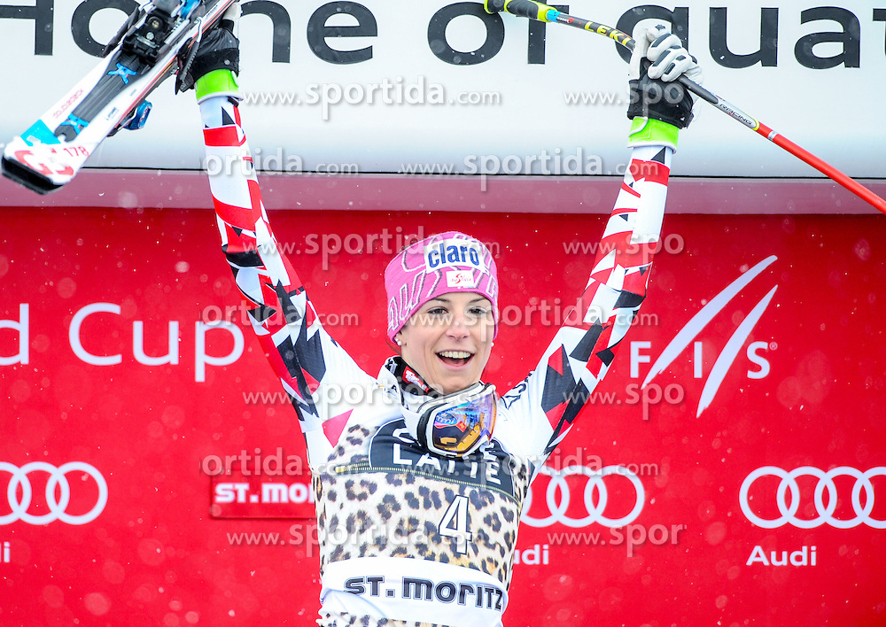 16.03.2016, Engiadina, St. Moritz, SUI, FIS Weltcup Ski Alpin, St. Moritz, Abfahrt, Damen, Siegerehrung, im Bild Miriam Pucher (AUT) Siegerin WC Abf St. Moritz // Miriam Puchner of Austria (Winner of the Downhill ) during Winner Day and Overall Award Ceremony of the ladie's Downhill of st. Moritz Ski Alpine World Cup finals at the Engiadina in St. Moritz, Switzerland on 2016/03/16. EXPA Pictures © 2016, PhotoCredit: EXPA/ Erich Spiess
