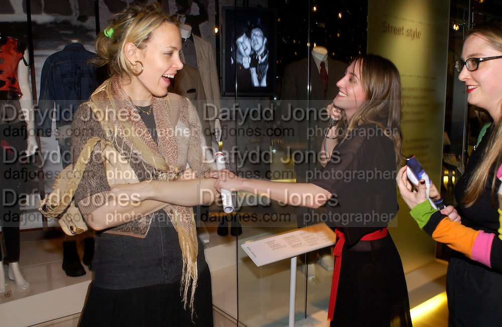 Bay Garnett,  Poppy de Villeneuve and Daisy de Villeneuve, Party hosted by Alexandra Shulman, Rupert Hambro and Prof  Jack Lohman to open 'The London Look, Fashion from Street to Catwalk', Museum of London. ONE TIME USE ONLY - DO NOT ARCHIVE  © Copyright Photograph by Dafydd Jones 66 Stockwell Park Rd. London SW9 0DA Tel 020 7733 0108 www.dafjones.com