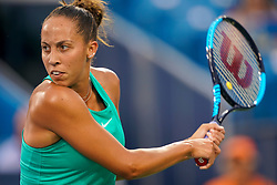 August 17, 2018 - Cincinnati, OH, U.S. - CINCINNATI, OH - AUGUST 17: Madison Keys (USA) hits a two-handed backhand shot during the Western & Southern Open at the Lindner Family Tennis Center in Mason, Ohio on August 17, 2018. (Photo by Adam Lacy/Icon Sportswire) (Credit Image: © Adam Lacy/Icon SMI via ZUMA Press)
