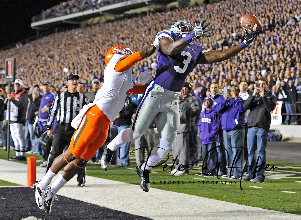ESPN -- Wide receiver Chris Harper #3 of the Kansas State Wildcats reaches for a pass in the end zone against defensive back Justin Gilbert #4 of the Oklahoma State Cowboys during the first half at Bill Snyder Family Stadium in Manhattan, Kansas.