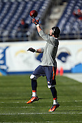 Denver Broncos wide receiver Wes Welker (83) catches a pregame pass while warming up before the NFL week 15 regular season football game against the San Diego Chargers on Sunday, Dec. 14, 2014 in San Diego. The Broncos won the game 22-10. ©Paul Anthony Spinelli