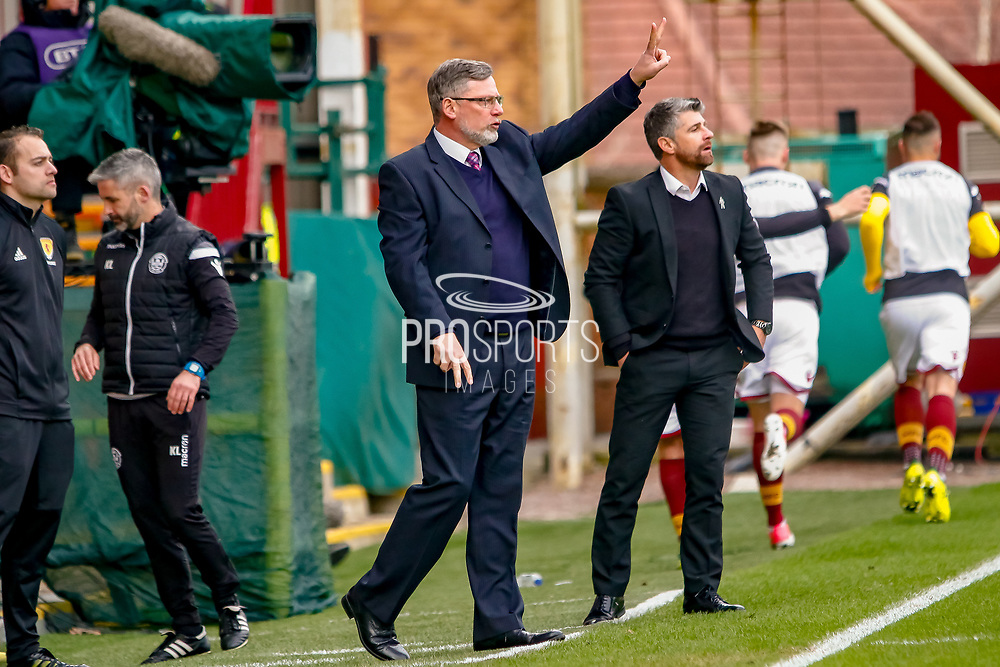 Hearts Manager Craig Levein reorganises his side during the Ladbrokes Scottish Premiership match between Motherwell and Heart of Midlothian at Fir Park, Motherwell, Scotland on 17 February 2019.
