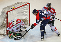 07.02.2015, Albert Schultz Eishalle, Wien, AUT, IIHF, Euro Ice Hockey Challenge, Oesterreich vs Slovakei, im Bild David Madlener (Oesterreich, AUT), Milan Kytnar (Slovakei, SVK) und Mario Fischer (Oesterreich, AUT) // during the IIHF Euro Ice Hockey Challenge match between Austria and Slovakia at the Albert Schultz Ice Arena, Vienna, Austria on 2015/02/07. EXPA Pictures © 2015, PhotoCredit: EXPA/ Thomas Haumer