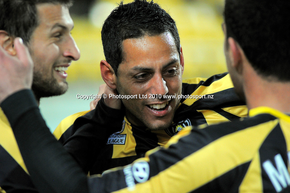 Phoenix' Vince Lia (left) congratulates Leo Bertos on his goal. A-League football - Wellington Phoenix v North Queensland Fury at Westpac Stadium, Wellington on Friday, 24 September 2010. Photo: Dave Lintott/photosport.co.nz