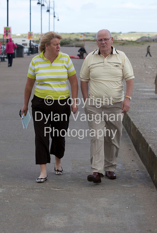 26/5/2009 .Michael O Brien pictured yesterday at Tramore Strand in county Waterford with Sun reporter Ann Mooney..Picture Dylan Vaughan.