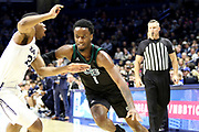 Green Bay's Amari Davis (1) drives to the land during an NCAA college basketball game against Xavier, Wednesday, Dec. 4, 2019, in Cincinnati. Xavier defeated Green Bay 84-71 (Jason Whitman/Image of Sport)