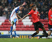 Blackburn Rovers striker, Jordan Rhodes (11) shoots during the Sky Bet Championship match between Blackburn Rovers and Brighton and Hove Albion at Ewood Park, Blackburn, England on 16 January 2016.