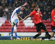 Blackburn Rovers striker, Jordan Rhodes (11) shoots during the Sky Bet Championship match between Blackburn Rovers and Brighton and Hove Albion at Ewood Park, Blackburn, England on 16 January 2016.
