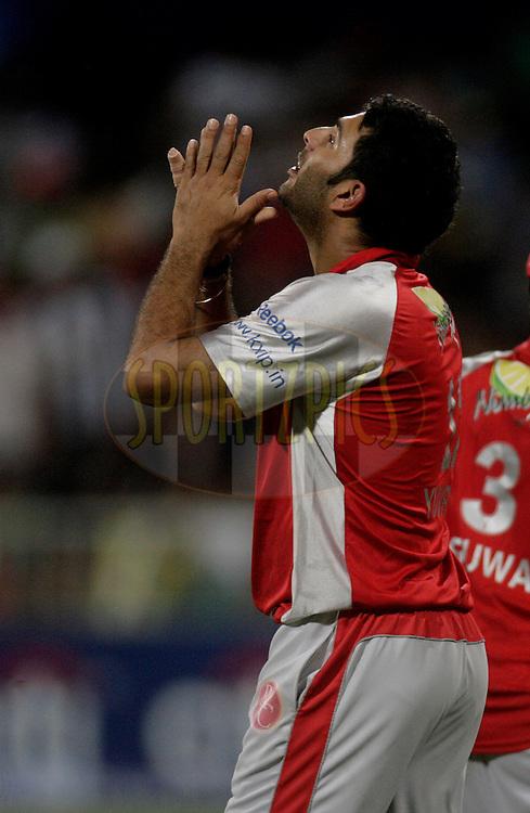 DURBAN, SOUTH AFRICA - 1 May 2009. Yuvraj Singh celebrates his hattrick during the IPL Season 2 match between Kings X1 Punjab and the Royal Challengers Bangalore held at Sahara Stadium Kingsmead, Durban, South Africa..