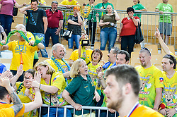 Fans of RK Celje with the trophy during handball match between RK Krka and RK Celje Pivovarna Lasko in the Final of Slovenian Men Handball Cup 2018, on April 22, 2018 in Sportna dvorana Ljutomer , Ljutomer, Slovenia. Photo by Mario Horvat / Sportida