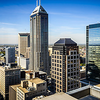 Indianapolis aerial picture with downtown Indianapolis city office buildings and skyscrapers including Chase Tower, OneAmerica Tower, One Indiana Square (Regions building), Market Tower (Key Bank building), and BMO Plaza.