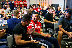 Alapati Leiua looks on as the Bristol Bears squad gather to make presentations to departing players after the Bristol Bears Team Run ahead of the Sale Sharks Game - Rogan/JMP - 02/05/2019 - RUGBY UNION - Ashton Gate Stadium - Bristol, England - Bristol Bears v Sale Sharks - Gallagher Premiership Rugby.