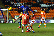 Blackpool Midfielder Jim McAlister challenges during the Sky Bet League 1 match between Blackpool and Oldham Athletic at Bloomfield Road, Blackpool, England on 16 February 2016. Photo by Pete Burns.