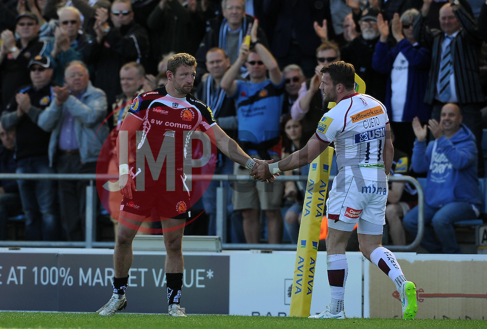 Sale Sharks Mark Ceuto is applauded off the field. Photo mandatory by-line: Harry Trump/JMP - Mobile: 07966 386802 - 16/05/15 - SPORT - RUGBY - Aviva Premiership - Exeter Chiefs v Sale Sharks - Sandy Park, Exeter, England.