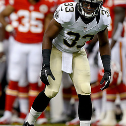 Aug 9, 2013; New Orleans, LA, USA; New Orleans Saints cornerback Jabari Greer (33) against the Kansas City Chiefs during a preseason game at the Mercedes-Benz Superdome. The Saints defeated the Chiefs 17-13. Mandatory Credit: Derick E. Hingle-USA TODAY Sports