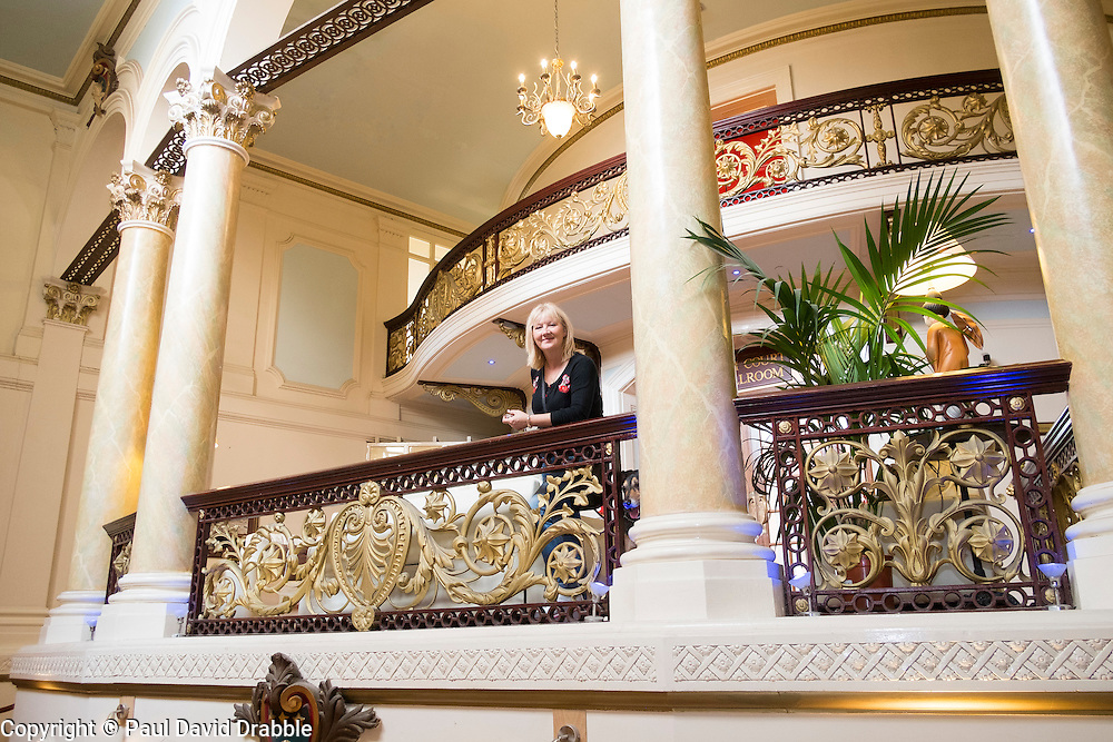 Top of the Main Staircase in the Grand Hotel A Grade II listed building Dominating Scarborough South Bay. When completed in 1867 it was one of the largest hotels in the world, as well as one of the first giant purpose-built hotels in Europe. The hotel is in the shape of a 'V' in honour of Queen Victoria and was designed around the theme of time: <br /> 4 towers to represent the seasons, <br /> 12 floors for the months of the year, <br /> 52 chimneys symbolise the weeks, <br /> originally there were 365 bedrooms - one for each day of the year. <br /> As Scarborough was a famous 'Spa Town' in its heyday the Grand hotels baths included an extra pair of taps so guests could wash in seawater as well as fresh water.<br /> The hotel was badly damaged when the German Navy bombarded the town in 1914.<br /> Three blue plaques outside mark where the novelist Anne Brontë died in 1849, the contribution of the RAF trainees stationed at the hotel during the Second World War, and the original opening of the building.<br />  12 September 2015<br />  Copyright Paul David Drabble<br />  www.pauldaviddrabble.photoshelter.comom
