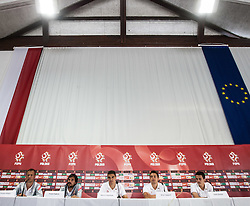 18.05.2012, Dolomitenstadion, Lienz, AUT, UEFA EURO 2012, Trainingscamp, Polen, Pressekonferenz, im Bild v.l.n.r. Pressesprecher Tomasz Rz?sa, Pawel Habrat (POL), Marcin Kaminski (POL), Artur Sobiech (POL), Rafael Wolski (POL) // f.l.t.r. Presschif Tomasz Rz?sa, Pawel Habrat of Poland, Marcin Kaminski of Poland, Artur Sobiech of Poland and Rafael Wolski of Poland during Pressconference of polish National Footballteam for preparation UEFA EURO 2012 at Dolomitenstadion, Lienz, Austria on 2012/05/18. EXPA Pictures © 2012, PhotoCredit: EXPA/ Johann Groder
