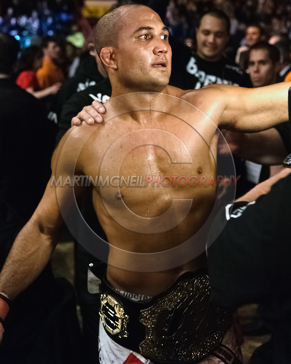 "NEWCASTLE, ENGLAND, UNITED KINGDOM, JANUARY 19 2008: BJ Penn exits the arena after winning the UFC lightweight title belt during ""UFC 80: Rapid Fire"" inside the Metro Radio Arena in Newcastle, England on January 19, 2008."