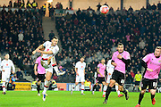 MK Dons defender Antony Kay clears the ball  during the The FA Cup Third Round Replay match between Milton Keynes Dons and Northampton Town at stadium:mk, Milton Keynes, England on 19 January 2016. Photo by Dennis Goodwin.