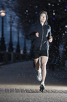 Runner training on early winter morning in London