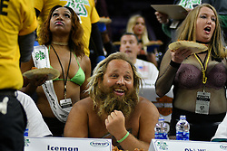 Wingettes hold up portions of chicken wings for a contester during Wing Bowl 26, at the Wells Fargo Center in Philadelphia, PA, on February 2, 2018. The annual chicken wing eating contest is set two days before Super Bowl 52, where the Philadelphia Eagles will take on the New England Patriots.