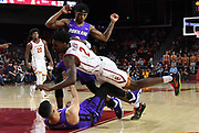 Nov 8, 2019; Los Angeles, CA, USA; Southern California Trojans guard Jonah Mathews (2) collides with Portland Pilots guard Malcolm Porter (1) in the second half at Galen Center USC defeated Portland State 76-65.
