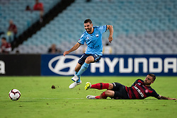 December 15, 2018 - Sydney, NSW, U.S. - SYDNEY, NSW - DECEMBER 15: Sydney FC defender Michael Zullo (7) jumps over Western Sydney Wanderers defender Josh Risdon (4) at the Hyundai A-League Round 8 soccer match between Western Sydney Wanderers FC and Sydney FC at ANZ Stadium in NSW, Australia on December 15, 2018. (Photo by Speed Media/Icon Sportswire) (Credit Image: © Speed Media/Icon SMI via ZUMA Press)