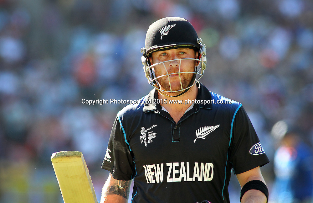 Brendon McCullum salutes the crowd after his quick fire 77 runs during the ICC Cricket World Cup match between New Zealand and England at Wellington Regional Stadium, New Zealand. Friday 20th February 2015. Photo.: Grant Down / www.photosport.co.nz