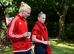 NEWPORT, WALES - Friday, August 31, 2018: Wales' captain Sophie Ingle and Jessica Fishlock during a pre-match team walk ahead of the FIFA Women's World Cup 2019 Qualifying Round Group 1 match between Wales and England. (Pic by David Rawcliffe/Propaganda)