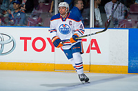 PENTICTON, CANADA - SEPTEMBER 9: Joseph Gambardella #45 of Edmonton Oilers warms up against the Winnipeg Jets on September 9, 2017 at the South Okanagan Event Centre in Penticton, British Columbia, Canada.  (Photo by Marissa Baecker/Shoot the Breeze)  *** Local Caption ***