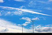 Sirius clouds and power cable poles, Nottinghamshire, United Kingdom