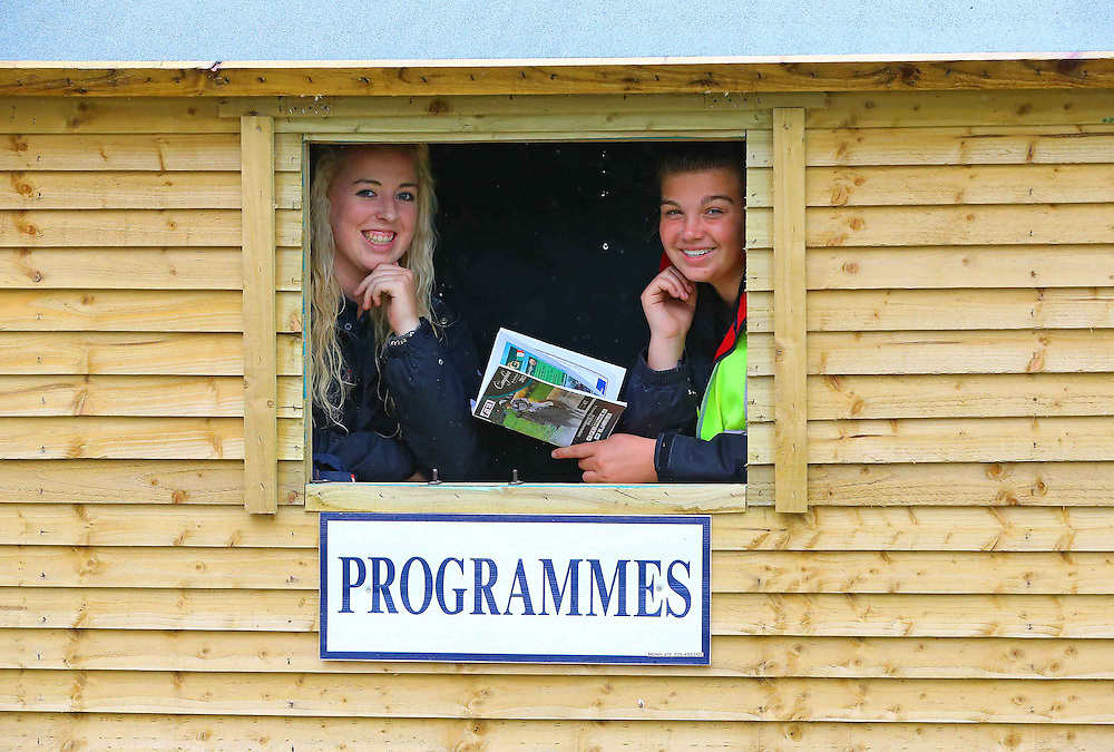28/07/2013. FREE TO USE IMAGE. Camphire International Horse Trials & Festival 2013, Cappoquin Co. Waterford which take place from 26th - 28th July,. Pictured are Kate Jenkins and Nele Burke from Wexford at the programmes hut. Picture: Patrick Browne