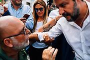 Matteo Salvini.<br /> Manifestazione di protesta organizzata dai partiti politici Fratelli d'Italia e Lega in piazza Montecitorio, contro il nuovo governo formato dal Partito Democratico e Movimento 5 stelle. Roma 9 Settembre 2019. Christian Mantuano / OneShot
