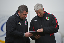 CARDIFF, WALES - Thursday, March 15, 2012: Welsh Football Trust Technical Director Osian Roberts with Elite Performance Director Ian Rush during a training session at the Glamorgan Sports Park. (Pic by David Rawcliffe/Propaganda)