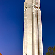 Vertical photo of Liberty Memorial in Kansas City, MO at dusk.