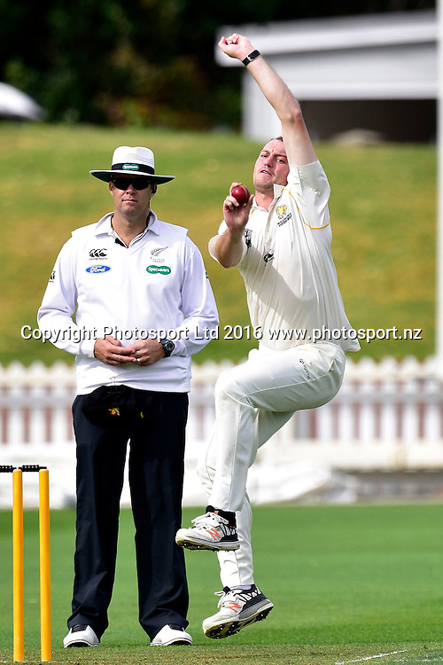 Iain McPeake of the Firebirds bowls during the Plunket Shield cricket match between the Wellington Firebirds and Auckland Aces at the Basin Reserve in Wellington on Wednesday the 23rd March 2016. Copyright Photo by Marty Melville / www.Photosport.nz