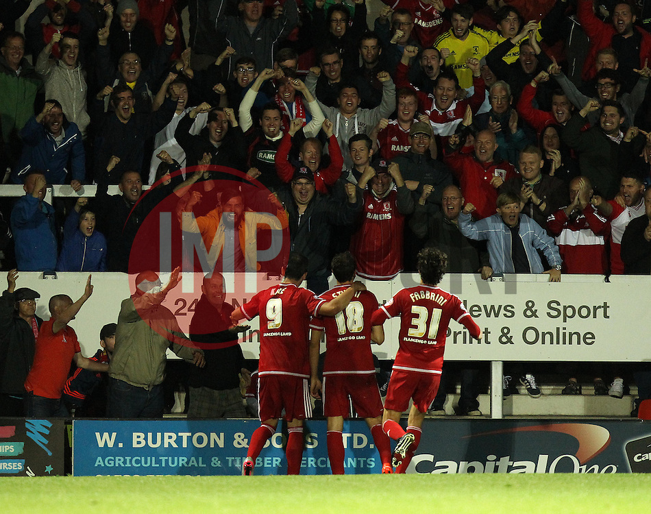 Christian Stuani of Middlesbrough celebrates his second goal with Kike of Middlesbrough and Diego Fabbrini of Middlesbrough - Mandatory byline: Robbie Stephenson/JMP - 07966386802 - 25/08/2015 - FOOTBALL - Pirelli Stadium -Burton,England - Burton Albion v Middlesbrough - Capital One Cup - Second Round